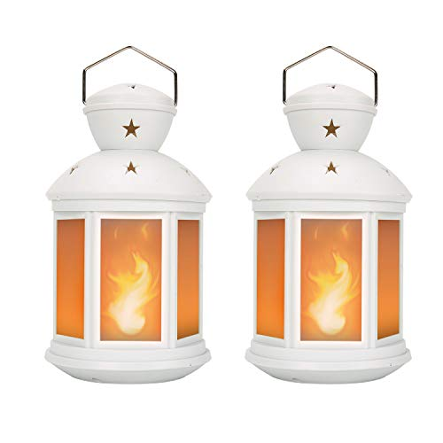 Decorative Lanterns Battery Powered LED, with 6 Hours Timer,Indoor/Outdoor,Lanterns Decorative for Wedding,Parties,White-2pcs