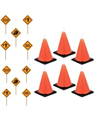 6 large Construction cone party candles (lead free) and 50 construction sign snack/dessert picks
