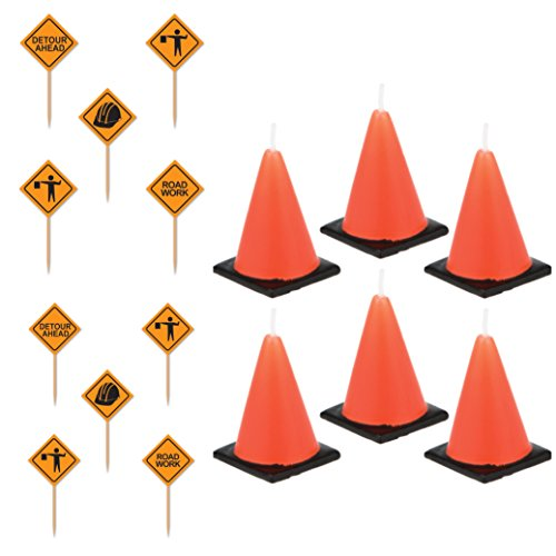 6 large Construction cone party candles (lead free) and 50 construction sign snack/dessert -