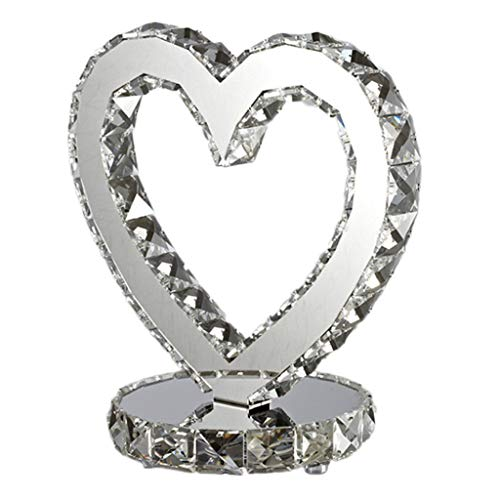Modern Fashion Heart-Shaped Chrome Crystal LED Dimmable Table Lamp,for Bedroom Bedside Table Wedding Gift Desk Lamps (Size : -