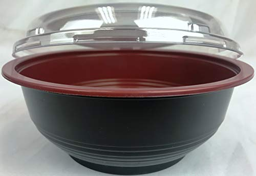Maple Trade Imperial JT700 24oz. Plastic Sushi Bowls Disposable or Teriyaki Bowls to Go with Lids (300 Pack) (Bowl Maple)