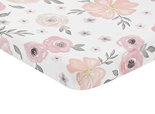 Sweet Jojo Designs Pink and Grey Baby Fitted Mini Portable Crib Sheet Watercolor Floral Collection