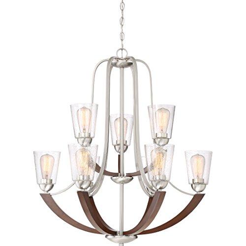 (Quoizel HE5009BN Holbeck Wood Chandelier, 9-Light, 900 Watts, Brushed Nickel (34