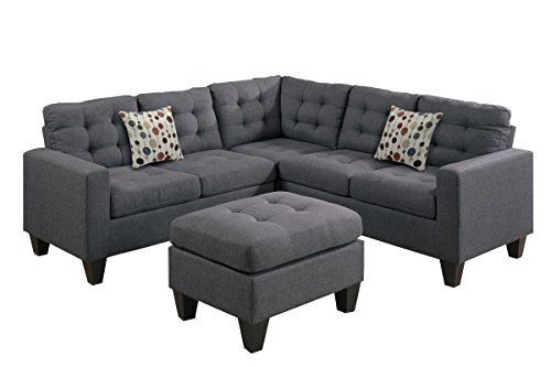 (Poundex F6935 Bobkona Norton Linen-Like 4 Piece Sectional with Ottoman Set, Blue Grey)