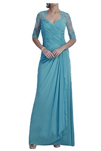 Milano Bride Hell Blau Lang Aermeln Abendkleider Ballkleider Chiffon Etui Partykleider Neu Lang