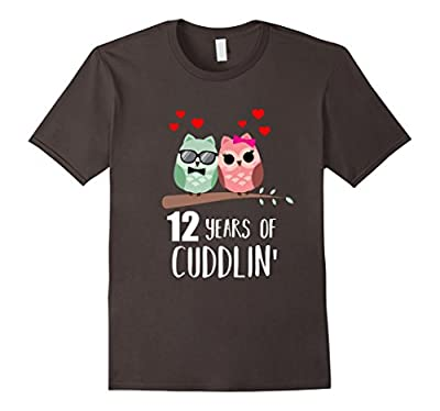 12th Wedding Anniversary Shirt Gift Funny Owl Couple T-shirt