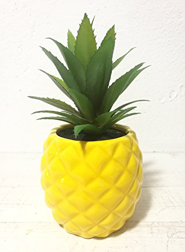 Yellow Artificial Pot (Artificial Potted Succulent 7.8