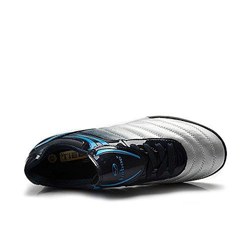 Tiebao Niños Respirable Difícil Suelo Interior Velocidad Patentar Cuero Fútbol Zapatos 1216 Plateado - plateado