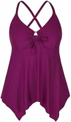66c0263b3e483 Firpearl Women s Black Flowy Swimsuit Crossback Plus Size Tankini Top