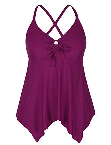 Firpearl Women's Flowy Swimsuit Tops Crossback Plus Size Tankini Top US16 Carmine ()