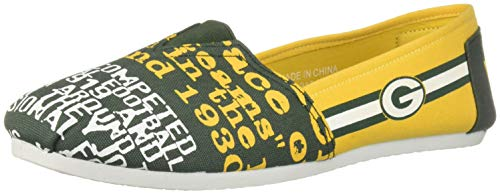 FOCO NFL Womens SMU Thematic Womens Canvas Shoe: Green Bay Packers, Medium