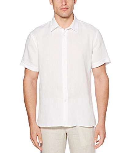 (Perry Ellis Men's Short Sleeve Solid Linen Cotton Button-Up Shirt, Bright White, Medium)