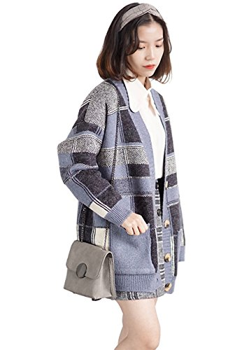 Lisa Pulster レディース ニット カーディガン セーター 厚手 長袖 カジュアル チェック柄 春 秋冬 ゆったり