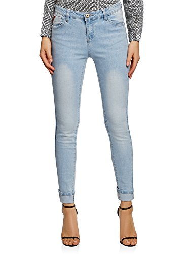 oodji Ultra Femme Jean Skinny  Taille Mi-Haute Bleu (7000w)