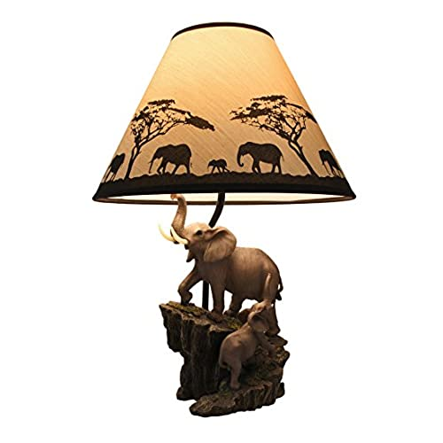 Elephants On Expedition Sculptural Table Lamp W/Decorative Shade