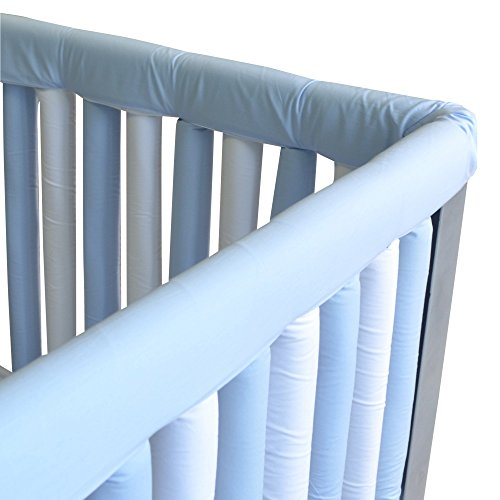 Go Mama Go Organic Teething Guard Protects Baby and Crib, Blue/White, 30'' x 12'' Set by Go Mama Go (Image #3)