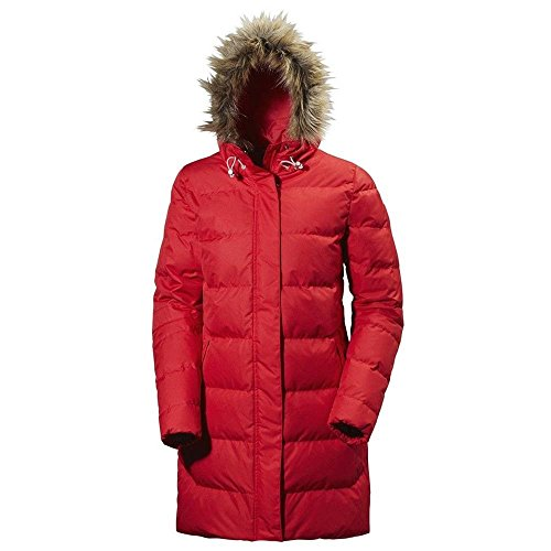 Helly Hansen Women's Aden Puffy Down Parka 500 Fill Insulated Warm Winter Jacket with Faux Fur Hood, 162 Red, Large ()
