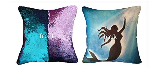 Meaning4 Reversible Sequins Mermaid Pillow Case Purple and Blue
