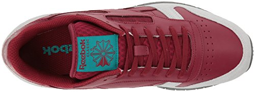 Reebok Men's CL Leather Grey Fashion Sneaker, Collegiate Burgundy/Cloud Grey/Alloy/Teal Green, 12.5 M US