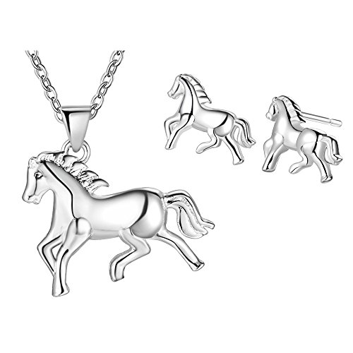 choice of all Silver Running Horse Earrings Necklace for Kids Cute Animal Jewelry for Women (C: Horse Set)