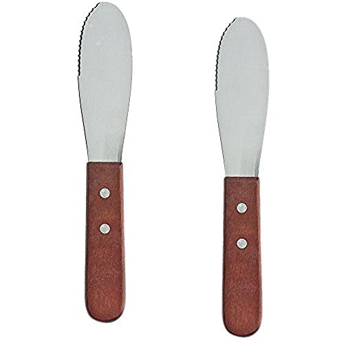 Pack of 2 Stainless Steel Butter Spreader Knife with Wooden Handle