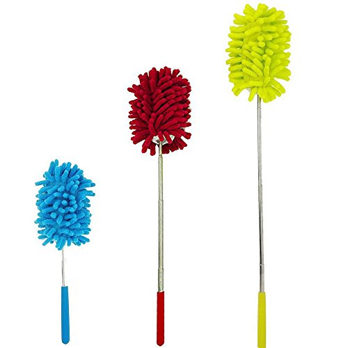 Kaptin 3 Pack Retractable Washable Dusting Brush, Extendable Long-Reach Microfiber Hand Duster with Telescoping Pole for Home Car Office Cleaning