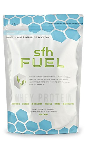 FUEL Whey Protein Powder (Coconut) by SFH   Best Tasting 100% Grass Fed Whey   MCTs & Fiber for Energy   All Natural 100% Non-GMO, No Artificials, Soy Free, Gluten Free   2lb bag (900g)   30 servings
