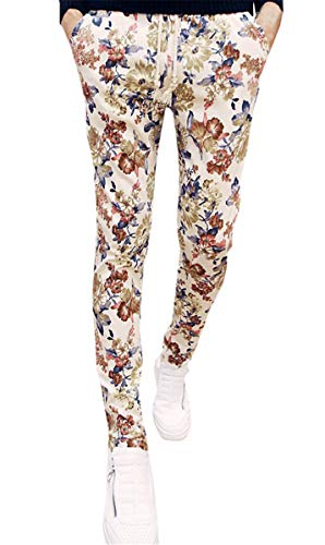 Men's Flower Pattern Slim Fit Tapered Floral Pants with Drawstring, Khaki, US 36 = Tag ()