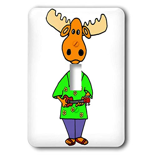 3dRose All Smiles Art - Music - Funny Cute Moose Playing Ukulele Music Cartoon - 2 plug outlet cover (lsp_315269_6)