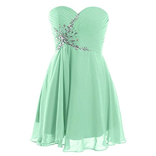 FAIRY COUPLE Short Strapless Sweetheart Prom Dress Crystal D0371 (US4, Mint)