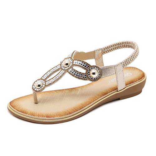 gold Women's Flat Sandals, Bohemian Style Comfortable Walk Clip Toe Large Size Summer Beach shoes Flip Flops, Suitable for Vacation, Party, Travel, Daily Wear