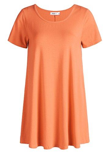 Esenchel Women's Tunic Top Casual T Shirt for Leggings 3X - Tunic Shirt Orange