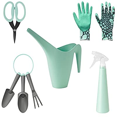 Gardening Tool Set for Women includes Watering Can, Garden Gloves, Hand Tools, Spray Bottle, and Herb Scissors (Mint Green), Perfect Gift Set for Garden Lovers