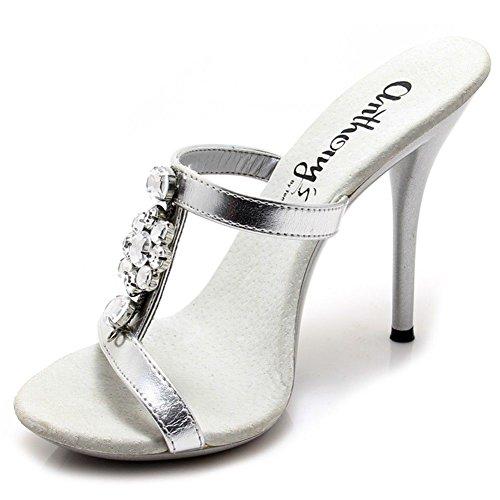 A-509-p, Scarpe Calde Con Pietra Di Cristallo Di Diamante, Slip On Sandalo Con 5 Tacchi. Argento