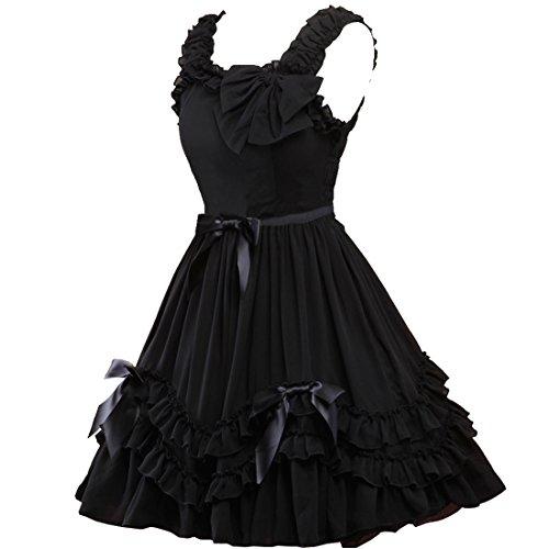 Kleider Partiss Chiffon Schwarz Damen Passe Sweet Schwarzes Lolita Love 0wg0aqU