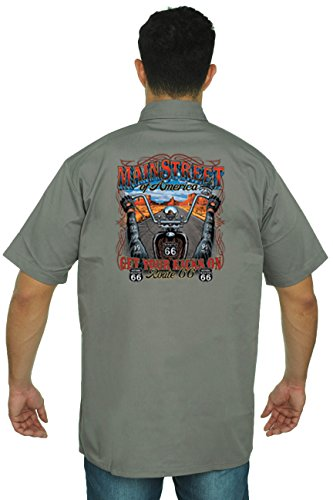 Men's Mechanic Work Shirt Main Street Of America: Get Your Kicks On: GREY (Mexico 66 Dress)