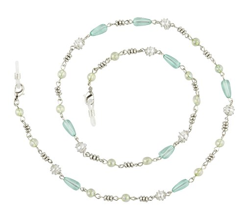 Beaded Eyeglass Chain Holder, Silver Or Gold Fashion Lanyard Necklace, Adella Aqua