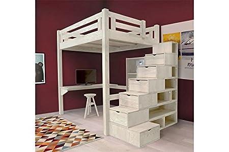 Etagenbett Lukas Weiß : Abc meubles hochbett alpage mit treppe in würfelform alpagcub