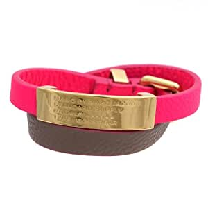 Marc by Marc Jacobs-Pulsera de piel de doble correa estándar Supply-Id Knockout grabar En relieve, color rosa/Cement