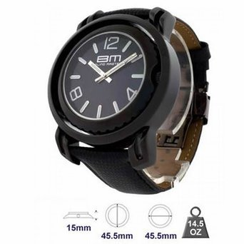 Band Flip Face Wrist Watch (Mens Easy Read Iced Dial Swiss All Black Leather Band Flip 2 Face BM Watch)