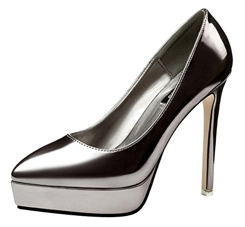 Passionow Women's Fashion Patent Leather Pointed Toe Slip-ons Super High Stilettos Heel Pumps (5.5 (Jack And Sally Costumes Uk)