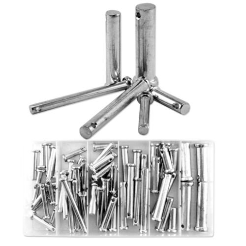 New 60pc Clevis Pin w/ Head Assortment 21 Different Sizes in Storage Case Kit