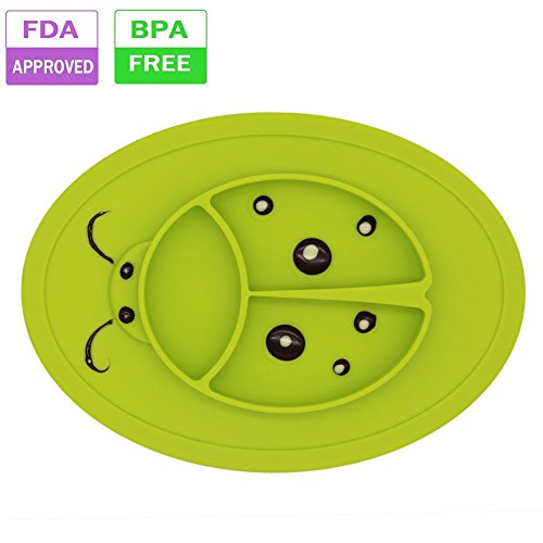 Kids Place Mat Silicone Dinner Plate - Baby Divided Suction Non slip bowl for Toddlers Highchair Trays,Children Feeding Weaning travel placemat a Soft Spoon included 2017 NEW (Glass Green)