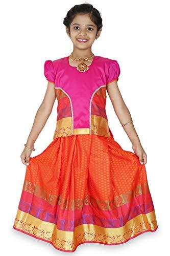 kaatru Thana Silk Girls Pavadai Set D18 - Lehenga Choli (Pink & Orange) (5-6 Y)