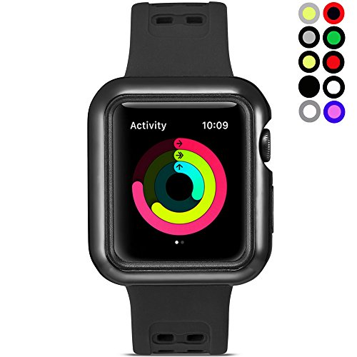 Watruer Compatible Apple Watch Band with Case, 42mm Shock-Proof and Shatter-Resistant Protective Case with Silicone Sport iWatch Band for Apple Watch Series 3/2/1 Sport Edition - Black