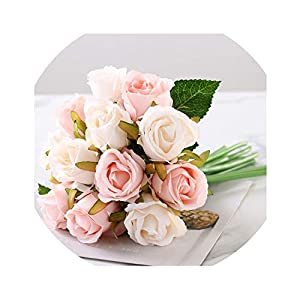 12pcs/Lots Artificial Rose Flowers Wedding Bouquet Silk Rose Flowers for Home Party Decoration Wedding Fake Flower 37