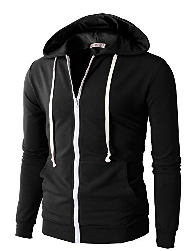 H2H Mens Fashion Lightweight Zip-up Hoodie with Pocket Of Various Colors BLACK US 3XL/Asia 5XL (JNSK24)