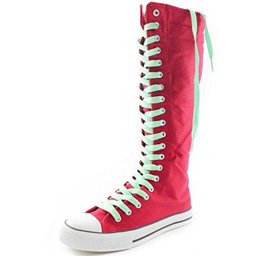 Dailyshoes Tela Donna Stivali Alti Metà Polpaccio Casual Sneaker Punk Flat, Stivali Fucsia, Pizzo Verde Perfetto