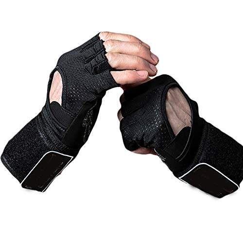 ZZKJNIU Weightlifting Fitness Gloves - Breathable Non-Slip Bracers Sports Dumbbells Half Finger Sports Gloves Summer Thin 2 Pieces,M