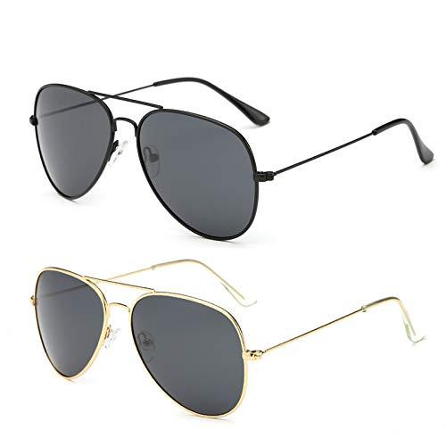YOSHYA Sunglasses for Men Women Aviator Polarized Metal Mirror UV 400 Lens Protection (Black Grey+Gold - Lens 400 Protection Uv